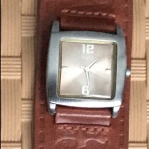 Guess wide cuff leather watch